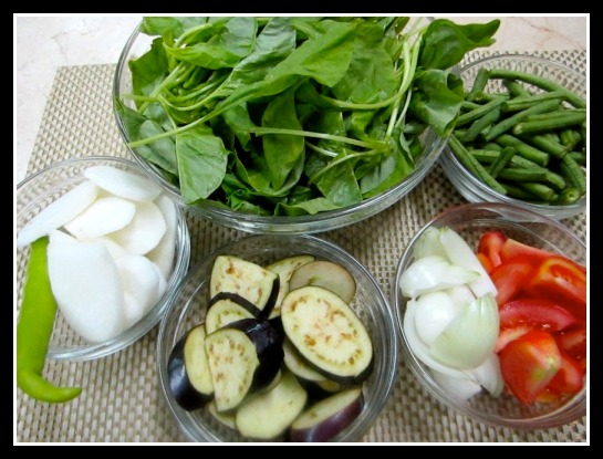 Radish, green Sili, Eggplant, Onion, Tomato, Long Beans and Spinach/Kangkong