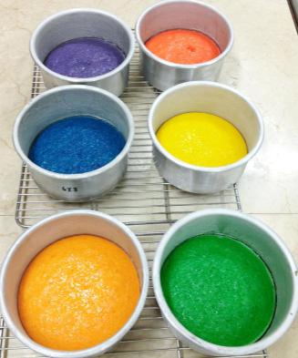 Starting off with the uber colorful cake batters, baked to perfection.