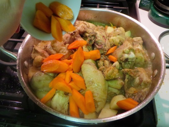 Add the carrots and stir. Allow to simmer until carrots and potatoes are  cooked.