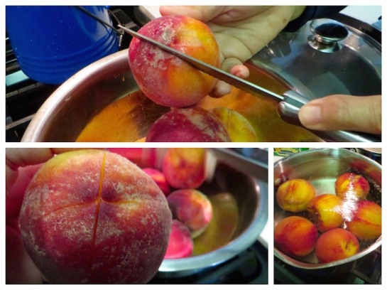 "Score the peaches by making an ""X"" on the bottom of the fruit."
