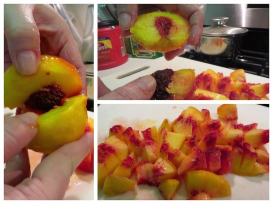 Cut the peaches in half and remove the seed and chop into pieces.