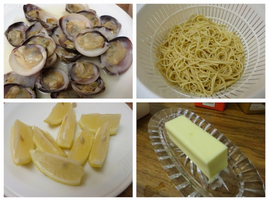 Clams, cooked pasta of choice ( i used linguine), butter and lemon